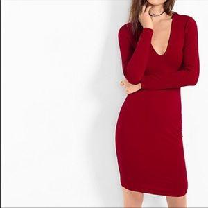 Express Deep V-Neck Sheath Dress